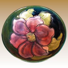 "Moorcroft Small Bowl, ""Clematis"" Pattern, Vintage English Art Pottery"