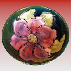 """Moorcroft Small Bowl, """"Clematis"""" Pattern, Vintage English Art Pottery"""