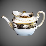 Antique Spode Teapot, Rare Variant Shape, Blue & Gold, Early 19th C English