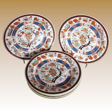 "Antique ""First Period""  Minton Plates, Set of Six,  Imari Colors"