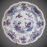 "Antique Ridgway Dinner Plate, Chinoiserie Stone China, ""Bandana"" ,  Early 19th C English"