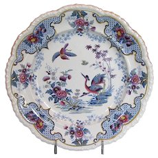 "Antique Ridgway Dinner Plate, Chinoiserie Stone China, ""Bandana"" ,  Early 19th C English"