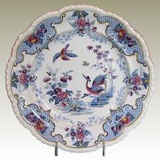 "Ridgway Chinoiserie Stone China Dinner Plate, ""Bandana"" , Antique Early 19th C English"
