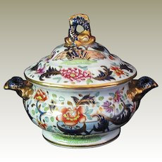 Rare John & William Ridgway Entwined Dolphins Sauce Tureen, Stone China, Antique Early 19th C English