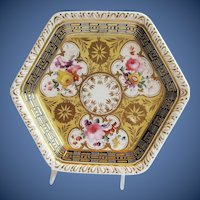 Antique English Teapot Stand,  Richly Decorated,  Early 19th C Ridgway