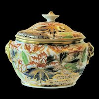 """Antique Coalport Sucrier/Sugar, Imari """"Finger and Thumb"""" Pattern, Early 19th C English"""