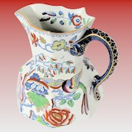 "Large 11"" Mason's Ironstone Pitcher / Jug,  ""Flying Bird"", Antique Early 19th C"