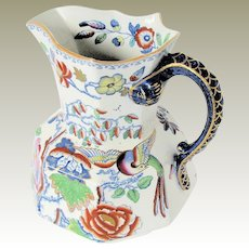 "Antique Mason's Ironstone Pitcher / Jug, Large, 11"", ""Flying Bird"", Early 19th C"