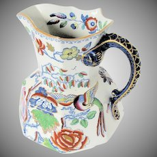 "Monumental Mason's Ironstone Pitcher / Jug, ""Flying Bird"", Antique Early 19th C"