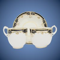 Antique English Porcelain Trio: Cobalt Blue & Gold, Davenport  19th C