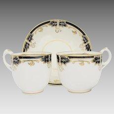 Fine Davenport Porcelain Trio: Cobalt Blue & Gold, Antique 19th C English