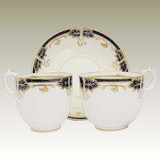Fine Davenport Porcelain Trio: Tea Cup, Coffee Cup & Saucer, Cobalt Blue & Gold, Antique 19th C English