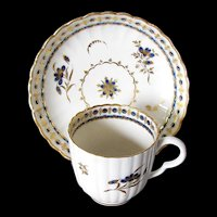 Antique  Caughley Porcelain Coffee Cup and Saucer, Blue & White,  18th C English