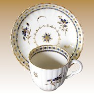 Caughley Coffee Cup and Saucer, Blue & White Fluted Porcelain, Antique 18th C English