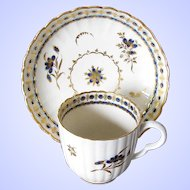 Antique 18th C English Coffee Cup and Saucer, Blue & White,  Caughley