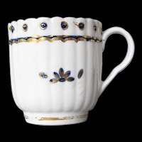 Antique Caughley Porcelain Coffee Cup,  18th C English
