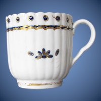Antique English Fluted Coffee Cup, Caughley,  18th C