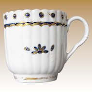 Caughley Porcelain Fluted Coffee Cup, Antique 18th C English