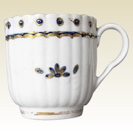 Antique English Porcelain Fluted Coffee Cup, Caughley,  18th C