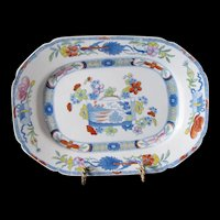 """Antique Mason's Ironstone Small Platter, """"Scroll Landscape"""", OB3,  Early 19th C"""