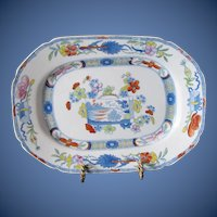 "Antique Mason's Ironstone Dish or Undertray, ""Scroll Landscape and Prunus"",  Early 19th C"