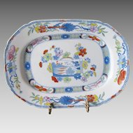 "Mason's Ironstone Dish or Undertray, ""Scroll Landscape and Prunus"", Antique Early 19th C Chinoiserie"