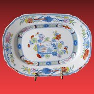 """Mason's Ironstone Dish or Undertray, """"Scroll Landscape and Prunus"""", Antique Early 19th C Chinoiserie"""