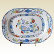 """Antique Mason's Ironstone Dish or Undertray, """"Scroll Landscape and Prunus"""",  Early 19th C"""