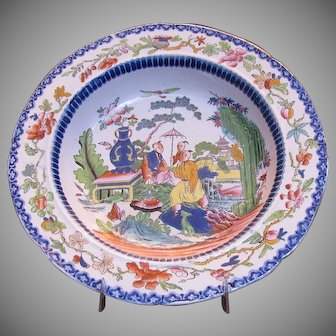 Early Mason's Ironstone Chinoiserie Soup Plate or Bowl, Mogul Pattern, Antique c 1815