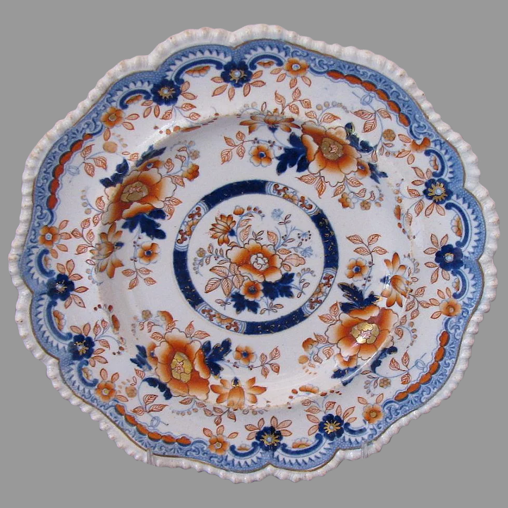 - FREE UK POST - Antique Hicks 23cm Meigh /& Johnson Real Stone China Imari style scalloped edge hand painted plate