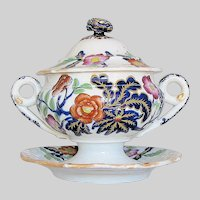 Antique Ridgway Dessert Tureen and Underplate, English Imari,  Early 19th C