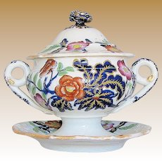 Antique Ridgway Dessert Tureen with Underplate,  Ironstone China, c 1830