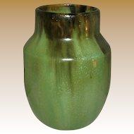 "Fulper Vase, ""First Fifteen"", Green Flambé, Antique American Art Pottery"