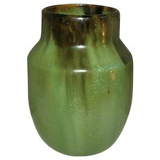 "Fulper Vase, ""First Fifteen"", Green Flambé, Antique American Art Pottery"