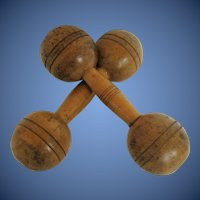Wooden Dumbbells, Pair, Late 19th C/Early 20th C