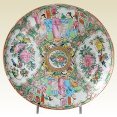 Antique Rose Medallion Plate, mid-19th C Chinese Export