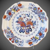 """Antique Ridgway Plate, """"War Bonnet"""" Early 19th C Ironstone China"""