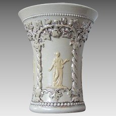 Antique Villeroy & Boch Mettlach Small Vase, Classical Figures