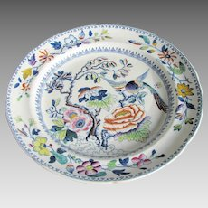 """Hicks & Meigh """"Flying Bird"""" Dinner Plate, Stone China, Antique, Early 19C"""