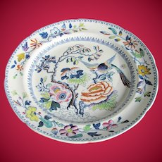 """Antique """"Flying Bird"""" Dinner Plate, Hicks & Meigh Stone China, Early 19C"""