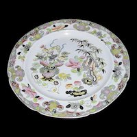 """Antique Folch Ironstone Plate, """"Bamboo & Basket"""", Early 19th C English Chinoiserie"""