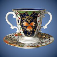 Antique English Caudle Cup w/Trembleuse Saucer, Imari/Japan Pattern, Derby,  Early 19th C