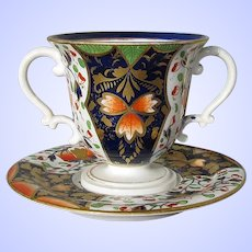 Antique Derby Caudle Cup (two-handled)  w/Trembleuse Saucer, Imari Pattern, Derby,  Early 19th C