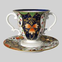 Antique Derby Trembleuse Cup & Saucer, Two Handled,  Imari Pattern, Early 19th C