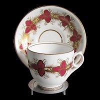 Antique English Porcelain Cup & Saucer, Crimson & White w/Gilding  19th C