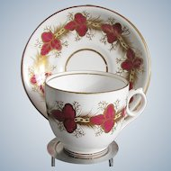 Antique English Porcelain Cup & Saucer, Crimson & White w/Gilding  19th C