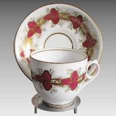 Fine English Porcelain Cup & Saucer, Red & White w/Gilding  Antique 19th C