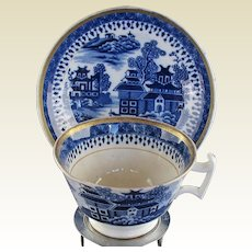 Antique Blue & White Chinoiserie Cup & Saucer, Rare English Maker, Early 19C