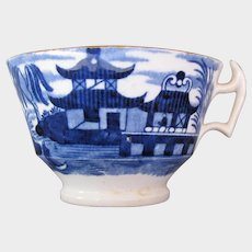"""Antique English Tea Cup, Dark Blue """"Canton #01"""", Early 19th C Chinoiserie"""