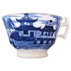 "Antique John Rose Coalport Tea Cup, Dark Blue ""Curly Pagoda"", Early 19C Chinoiserie"